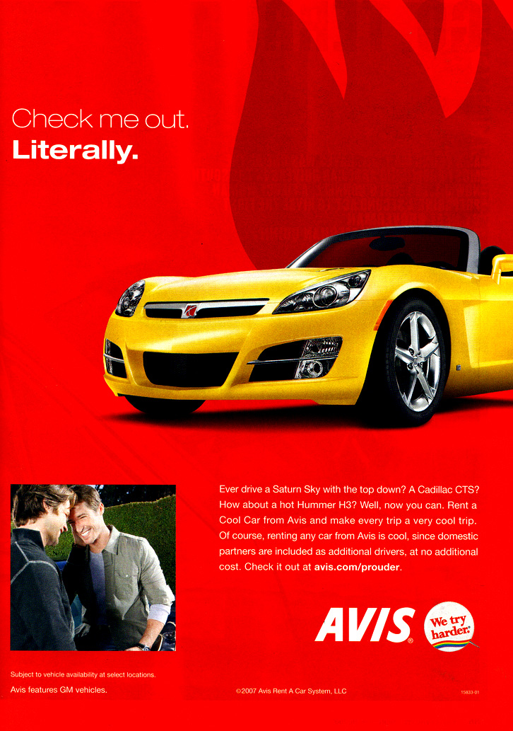 Avis has been courting gay travelers for years says spokesman Ted Deutsch. u201cWe see the gay and lesbian market as significant in size and very brand loyal ...  sc 1 st  Marketing the Rainbow & Avis